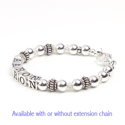 Handsome boys bracelet in all sterling silver personalized with name.