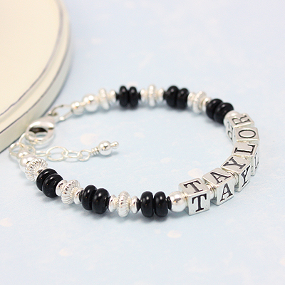 Boys bracelets in bright polished sterling and abacus shaped black onyx