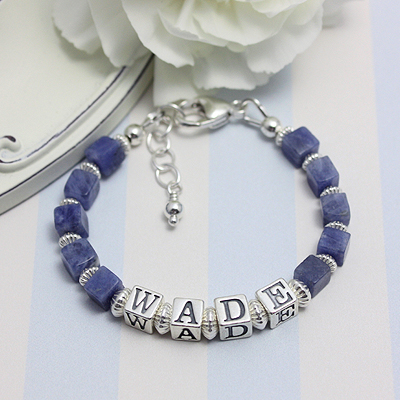 Handsome boys bracelets with an upscale look. Blue Sodalite gemstone.