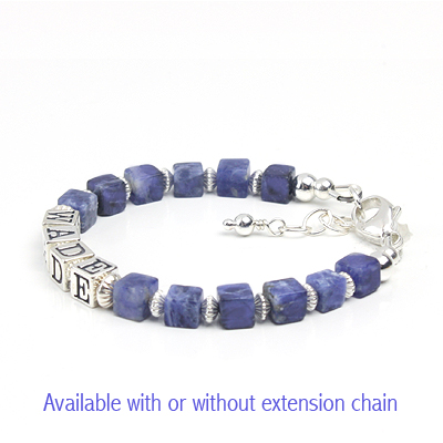 Boys bracelet in blue sodalite gemstone and sterling silver. The bracelet includes name.