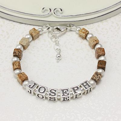 Boys bracelets in handsome brown picture jasper and sandblasted sterling silver.