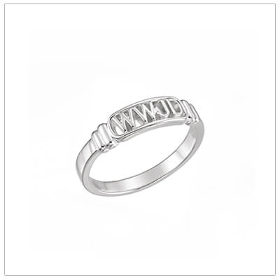 Sterling silver Christian ring for boys in 3 sizes. 'What Would Jesus Do?' ring for boys.