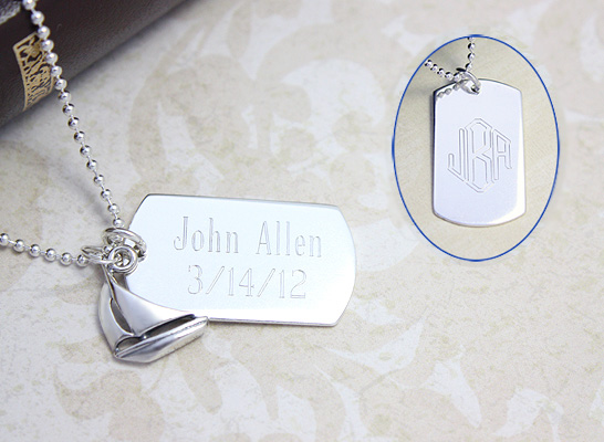 Sterling silver engraved dog tag necklace for boys with sailboat charm.