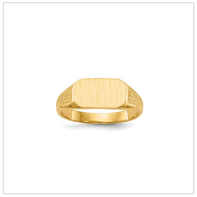 14kt gold boys signet ring with a handsome design on the sides.