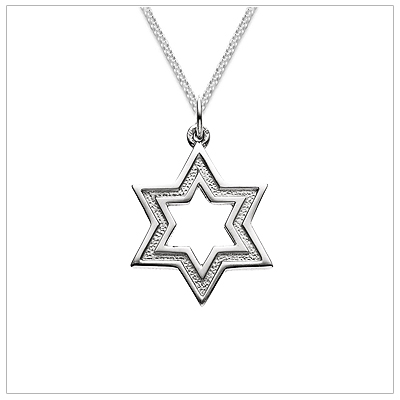 This handsome star of david necklace for boys or men has a surface that is both polished and textured. The necklace comes with a flat curb chain.