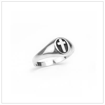 Sterling silver boys Cross ring in 3 sizes. Handsome Cross ring for boys with oxidized background.