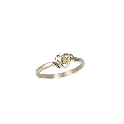 Childrens 10kt gold heart birthstone ring for November.