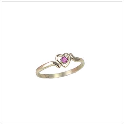 Childrens 10kt gold heart birthstone ring for October.