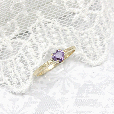 February heart shaped birthstone ring in 10kt yellow gold.