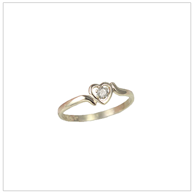 Girls 14kt gold heart birthstone ring for April.