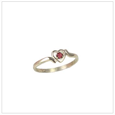 Childrens 14kt gold heart birthstone ring for January.