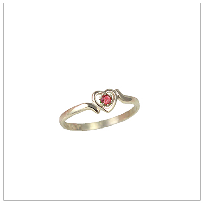 Girls 14kt gold heart birthstone ring for July.