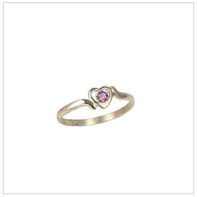 Girls 14kt gold heart birthstone ring for June.