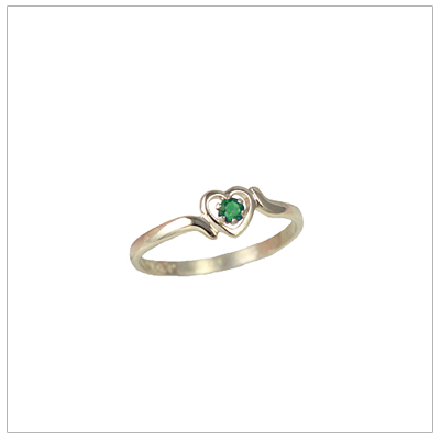 Girls 14kt gold heart birthstone ring for May.