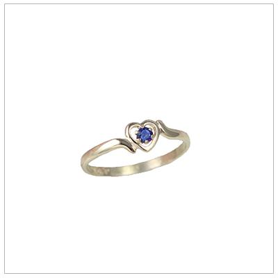 Girls 14kt gold heart birthstone ring for September.