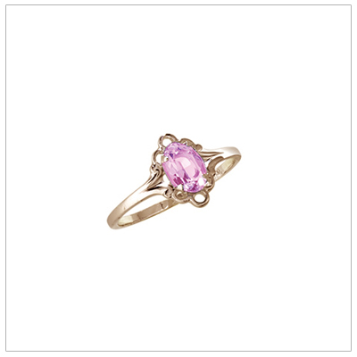 October birthstone ring for girls in 14kt yellow gold with genuine oval birthstone.