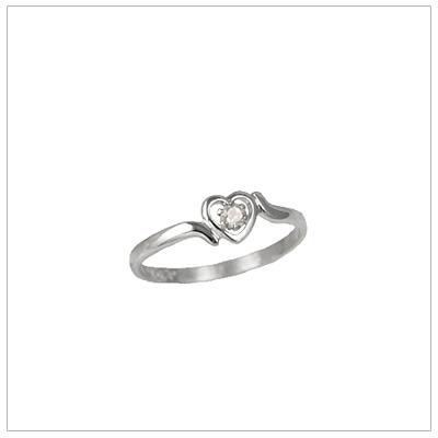 Girls 14kt white gold heart birthstone ring for April.