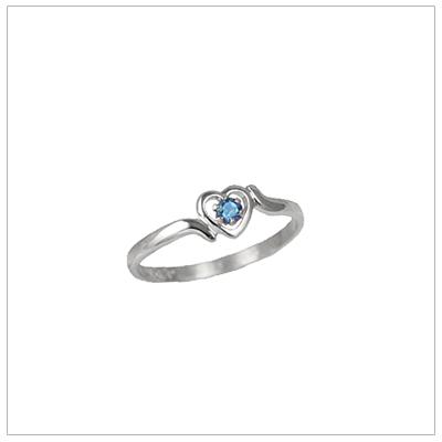 Girls 14kt white gold heart birthstone ring for December.