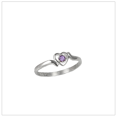 Girls 14kt white gold heart birthstone ring for May