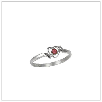 Girls 14kt white gold heart birthstone ring for January.