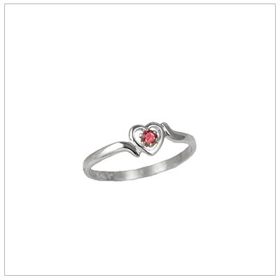 Girls 14kt white gold heart birthstone ring for July.