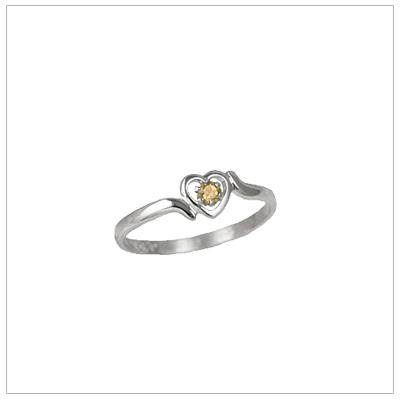 Girls 14kt white gold heart birthstone ring for November.