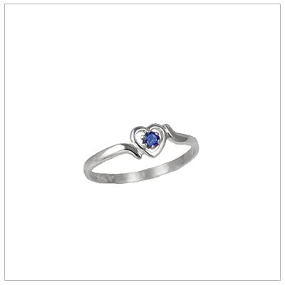 Girls 14kt white gold heart birthstone ring for September.