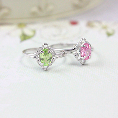 Sterling silver birthstone rings for children and preteens with oval birthstones.