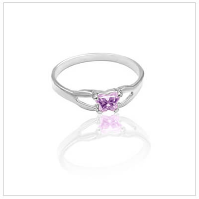 Sterling silver birthstone ring for children with tiny butterfly-shaped cz birthstone. All 12 birthstones available.