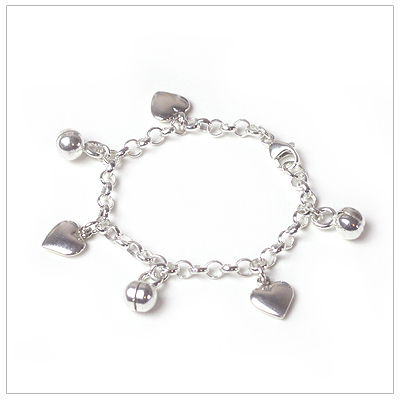 Sterling silver charm bracelet for babies and toddlers, six charms included.