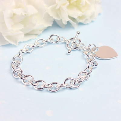 Sterling silver oval chain charm bracelet for girls.