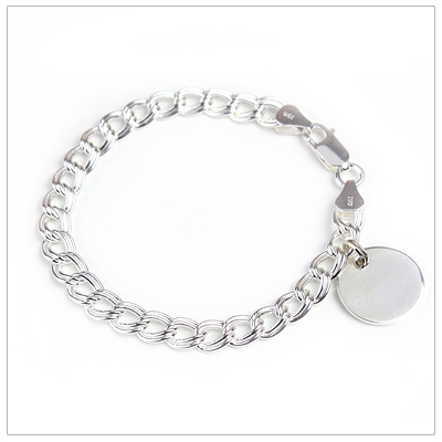 Sterling silver charm bracelet with wide 7.6mm double-links and engraved disc.