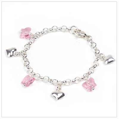 Sterling silver charm bracelet for babies and toddlers with sterling hearts and pink Swarovski crystal butterflies.