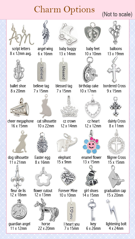 Sterling silver charm options for bracelets.