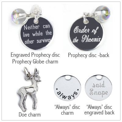 Sterling silver doe and always charms, prophecy globe charm.