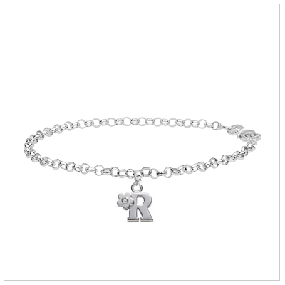 Children's sterling silver bracelet with a diamond-set initial charm.
