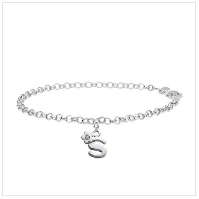 Children's bracelet in sterling silver with an initial charm set with genuine diamond.