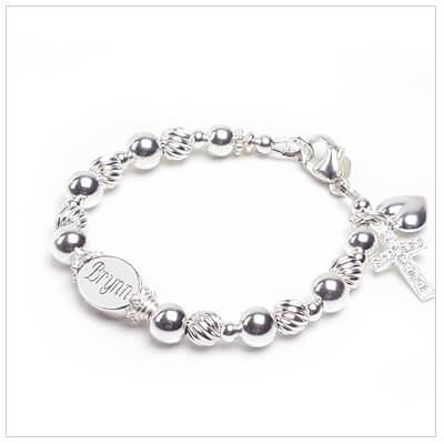 Engraved bracelet for babies and children in sterling silver; custom sizing.