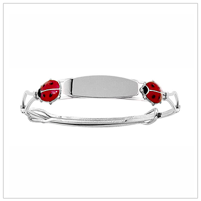 Charming sterling engraved bracelets for toddler or child with two red ladybugs. Adjustable sizing.