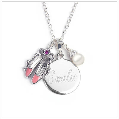 Sterling silver engraved necklace with ballet slipper charm and pearl charm. Free one side engraving and includes sterling chain.