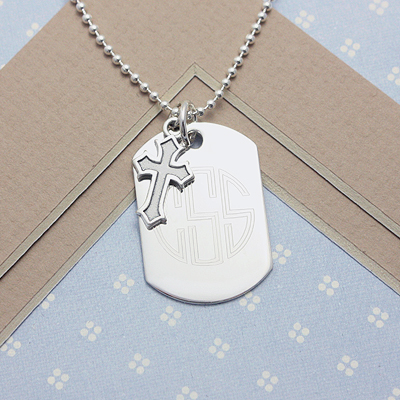 Blessings Boys Personalized Dog Tags in sterling silver with engraving and chain included