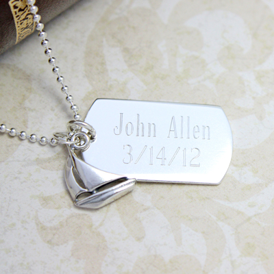 Personalized dog tags in a slightly smaller size, matte finish sterling silver. Engraving included.