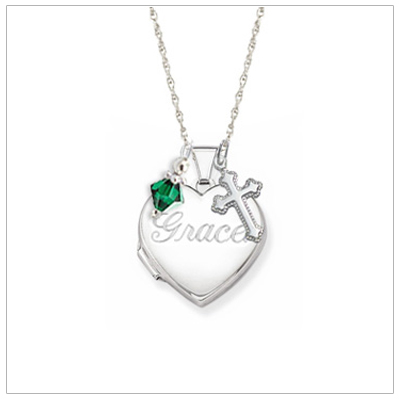 Personalized engraved heart locket for girls.