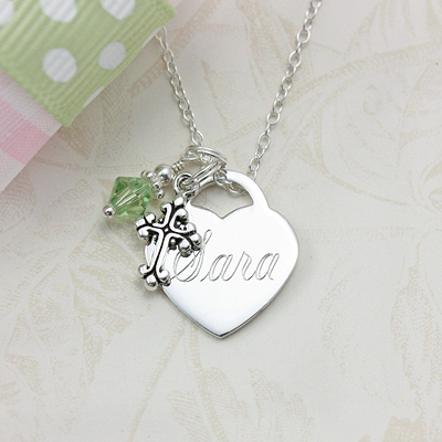 Sterling silver personalized necklaces for girls with free birthstone charm and custom engraving.