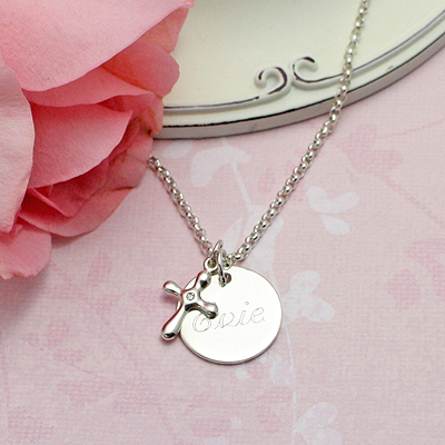 Sterling silver engraved necklace includes diamond Cross charm and chain. Available in 3 lengths.