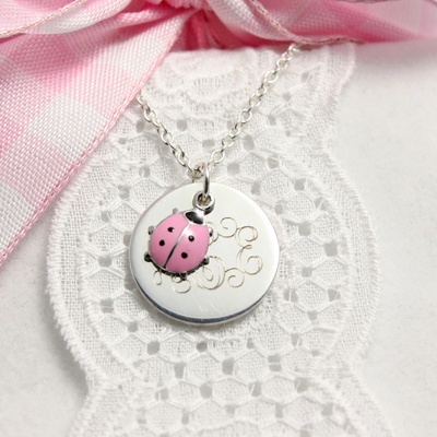 Charming pink ladybug personalized necklaces with custom engraving. Baby & children's jewelry.