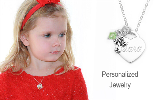 Engraved heart necklace in sterling silver with birthstone and Cross charms.
