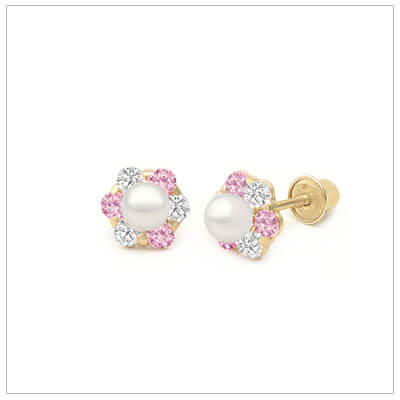 14kt gold pink and clear cz cluster earrings set with a cultured pearl; screw back pearl earrings for babies and children.