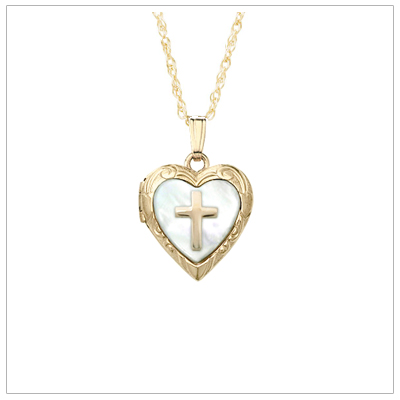Girls 14kt gold heart locket with mother of pearl and gold Cross. The locket holds small photos and is a perfect Baptism gift.