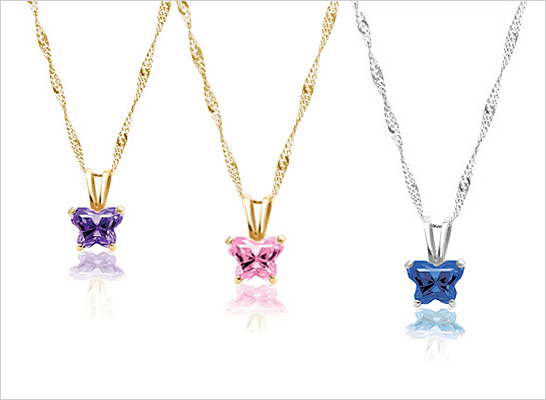 Butterfly shaped birthsstone necklaces for children in sterling silver and 10kt gold.